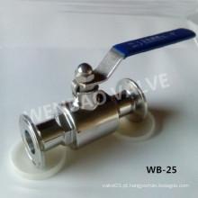 Válvula de esfera sanitária de 2 vias com extremidades de grampo