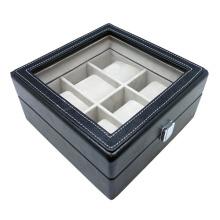 Caixa De Relógio De Couro Preto Hx-A0748 (6 Relógios)