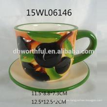 2016 nueva taza de café de cerámica de diseño oliva con platillo