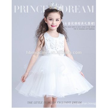 2016 new fashion white color performance baby girl dress summer design princess baby girl maxi dress