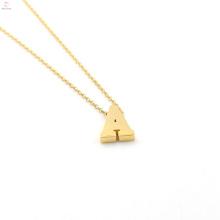 Collar de oro de la letra de encargo del oro 26 del alfabeto colgante inicial del encanto