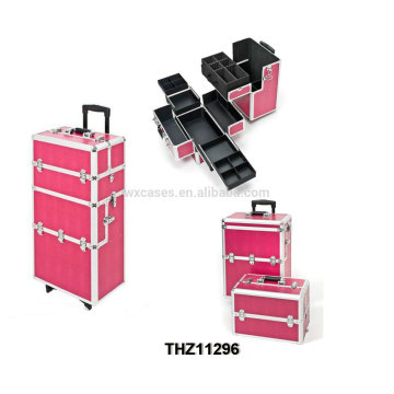 new style professional cosmetic trolley cases can be splitted into 2 parts-cosmetic case and cosmetic trolley case