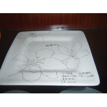 Ceramic Square Plate with Hand Painted Pattern