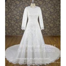 Mangas compridas pérola beaded vestido de casamento muçulmano vestido de noiva 2017