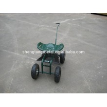 Rolling Garden Cart Work Seat With turnbar