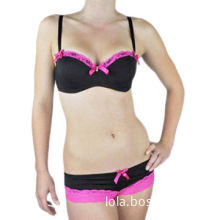 Nylon Bra Sets with Lace Trim at Cup and Panties, Customized Designs are Accepted