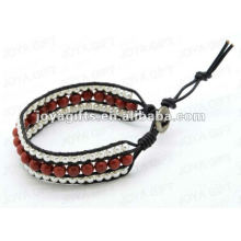 Amitié 8mm Red Stone Round Beads Wrap Bracelets
