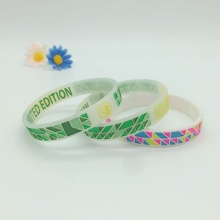 Debossed Ink Filled Colorful All Around Silicone Bracelet