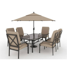 Outdoor slat furniture 8pc dining set with cushion and umbrella