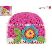 Flores grandes del ganchillo capsulan los sombreros del bebé de la flor de las muchachas del niño del bebé Sombrero / sombreros HECHA A MANO del bebé