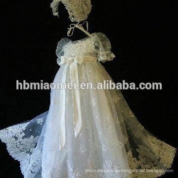Späteste A-Linie Kurzarm-formale Partei-Abnutzungs-Baby-Taufkleid für Baby-Mädchen-Prinzessin Gown