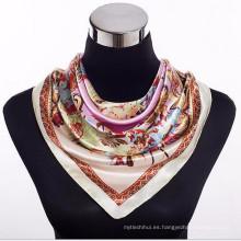 Cómodas mujeres bonitas 100 * 100 cm de impresión al por mayor francés 2017 bufandas de seda de diseño cuadrado 90 * 90 cm elegante