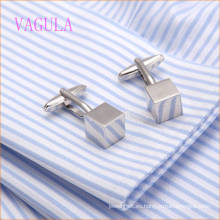 VAGULA Fashion New Design Silver Plated Smooth Cube Gemelos Gemelos De Cobre