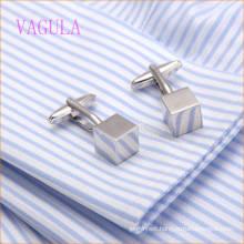 VAGULA Fashion New Design Silver Plated Smooth Cube Gemelos Copper Cufflinks