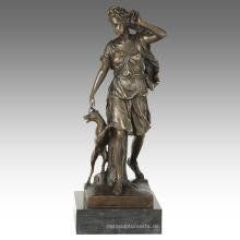 Mythologie Figur antike Statue Artemis Bronze Skulptur TPE-865