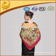 Dubai heißer Verkauf 100% Silk Twill 110x110cm großer quadratischer rosafarbener gedruckter Schal