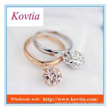 Moda ouro africano chapeado cristal bola de fogo pingente anéis anel de tungstênio