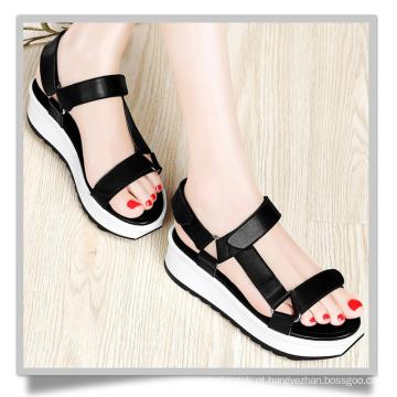 Black Flatform Shoes Think Soled Mulheres Sapatos Mulheres Sandália