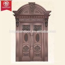 Arched Top Design Puerta de la puerta principal de doble hoja, puerta de bronce comercial o residencial