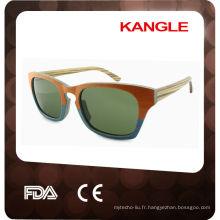 2015 populaire avec lunettes de soleil en bois UV400 lentille polarisée