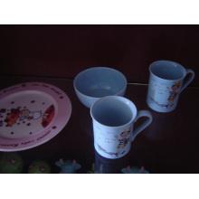 Набор керамических завтраков с печатью наклейки