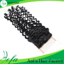Buena respuesta 100% Remy Hair Top Deep Wave Closure