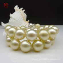 10-11mm collar de la perla natural del oro de Southsea