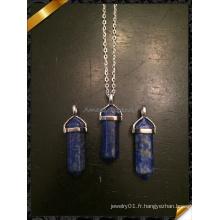 Collier pendentif en quartz naturel Collier en caoutchouc en cuivre en argent Collier bijoux en pierre bijoux (FN074)