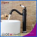 Fyeer Oil Rubber Bronze Ceramic Handle Countertop Brass Basin Faucet