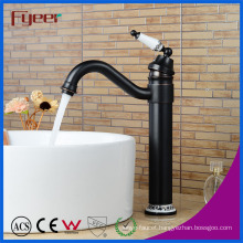 Fyeer Oil Rubber Bronze Ceramic Handle Countertop Brass Basin Faucet