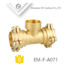 EM-F-A071 Socket type brass Female thread tee flange pipe fittings