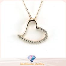 Los corazones del amor del precio de fábrica ponen en cortocircuito el collar de la joyería de la plata de la manera del párrafo (N6608)