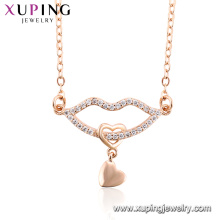 44470 New arrival women jewelry lip shaped design zircon inset rose gold plated pendant necklace