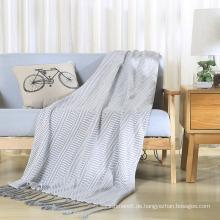 100% Baumwolle stricken Wurf weiche Decke