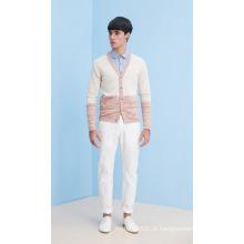 Moda V-Neck Striped Man Cardigan de malha