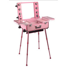 Pink Light Cosmetic Case Makeup Station with Lights