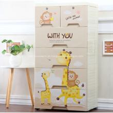 Gabinete de gaveta de plástico colorido para quarto