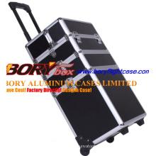 High Quality Custom Black Rolling Makeup Case
