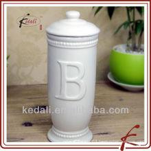 white glaze ceramic face tissue box cover