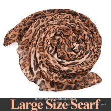 A867 75 * 180cm Fashionistas debe! Nueva bufanda 2015 de la mujer del verano del leopardo de la marca de fábrica del estilo de la manera, bufandas largas del mantón del voile del 100%