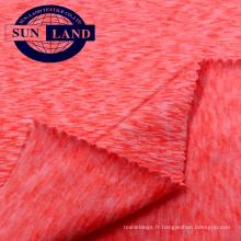 Tissu en jersey de spandex en polyester bicolore pêche mélangé 18AW tricoté en trame