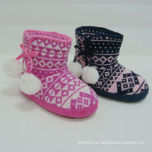 Новые рождественские прибытия горячей зимой зима моды теплые дети сапоги шерсти плетения