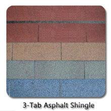 Teja del tejado del asfalto 3-Tab / teja de teflón colorida auta-adhesivo de la fibra de vidrio / material de techumbre del betún con ISO (12 colores)