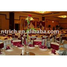 Cubiertas de la silla del satén, cubiertas de la silla del banquete del hotel, marco de la silla del satén