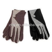 Vente en gros gant de laine européenne Houndstooth