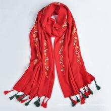 2017 moda tendencia estilo árabe bufanda mujeres bordado largo 30% viscosa y 70% poliéster bufanda y chal