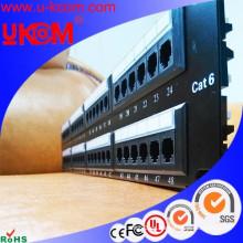 Red UTP RJ45 cat6 19 pulgadas panel de conexiones de 48 puertos con gestión de cables