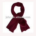 2015 New Product Fashion And Warm Winter Scarf Wholesale Fox Fur Pom Pom Crochet Scarf