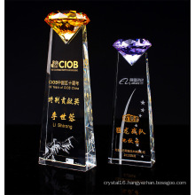 High-Grade Crystal Trophy with Diamond