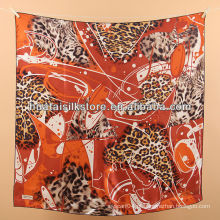 Cabeça cachecol de seda 100% vermelho senhora leopardo cabeça de impressão cachecol